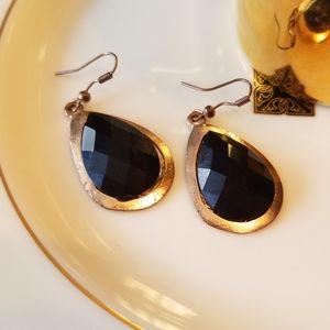 BLACK &GOLD TEARDROP CHECKERBOARD FACETED EARRINGS